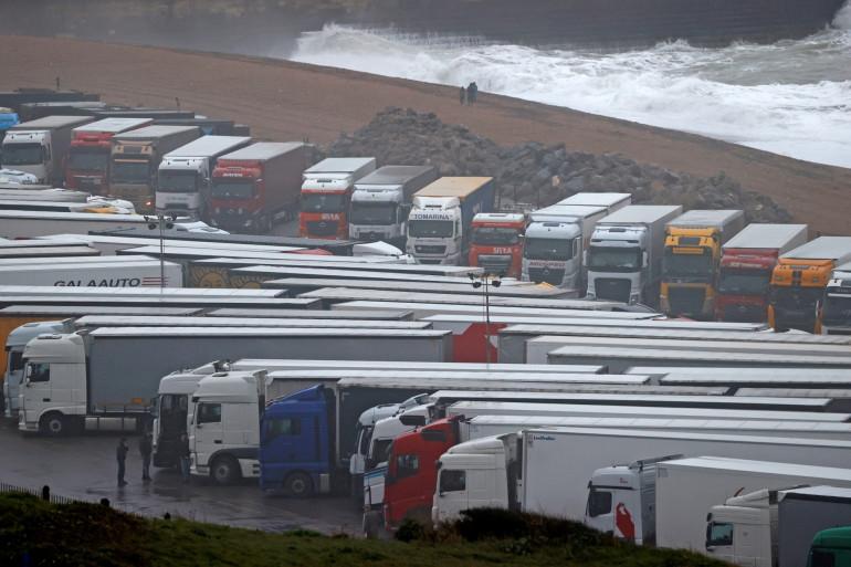 Des camions bloqués à Douvres, le 21 décembre 2020