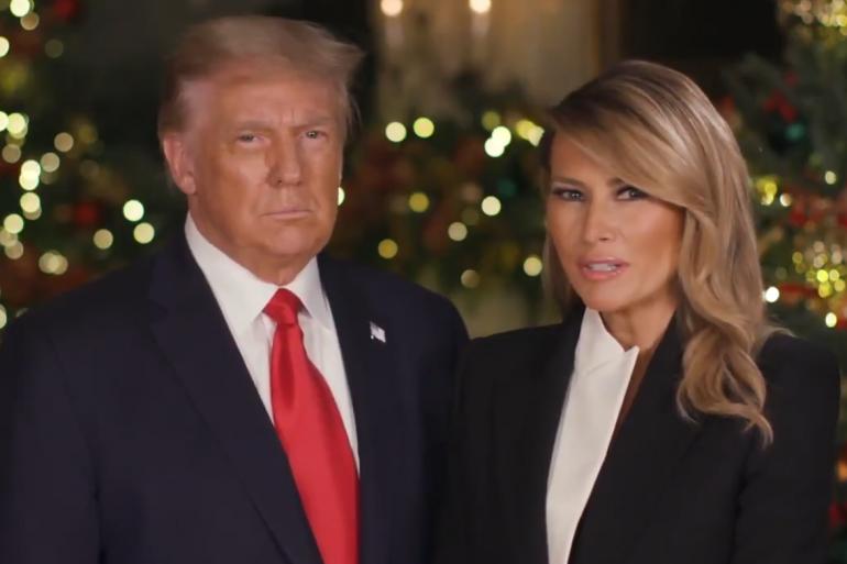 Donald et Melania Trump dans leur discours du 24 décembre 2020