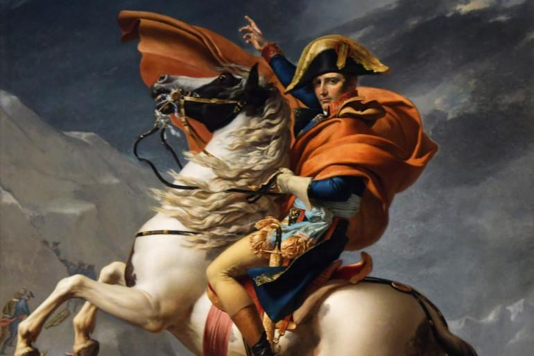 """""""Bonaparte franchissant le Grand-Saint-Bernard"""" de Jacques-Louis David (illustration)"""