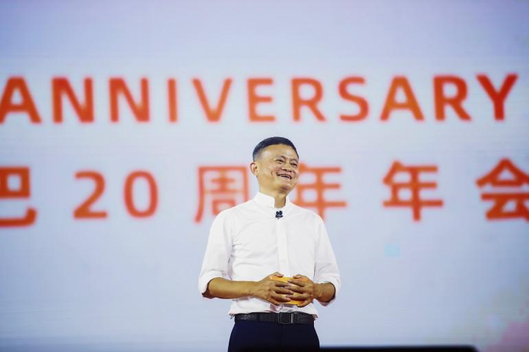 Jack Ma, président du groupe Alibaba, prend la parole lors du 20e anniversaire du groupe à Hangzhou (Chine), le 10 septembre 2019.