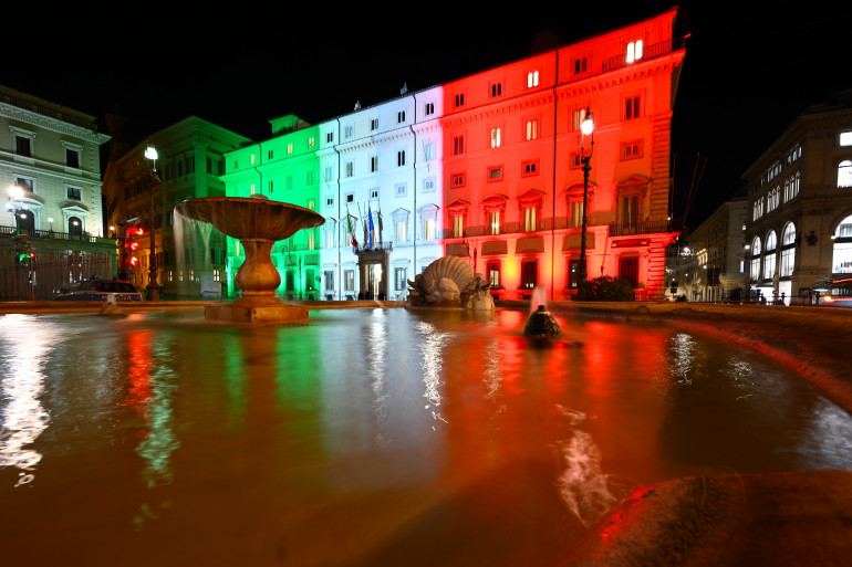 Le siège du gouvernement italien, à Rome, le 12 janvier 2021