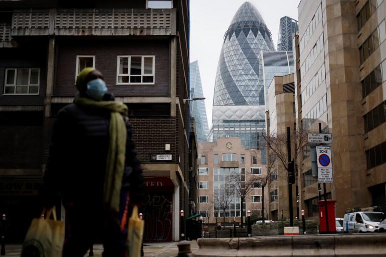 Illustration du quartier de la City à Londres, le 15 janvier 2021