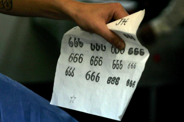 Différentes écritures du nombre 666 pour des tatouages (illustratrion)