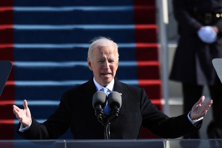 Le président américain Joe Biden prononce son discours d'investiture le 20 janvier 2021 au Capitole américain à Washington, DC. Biden a prêté serment en tant que 46e président des États-Unis.