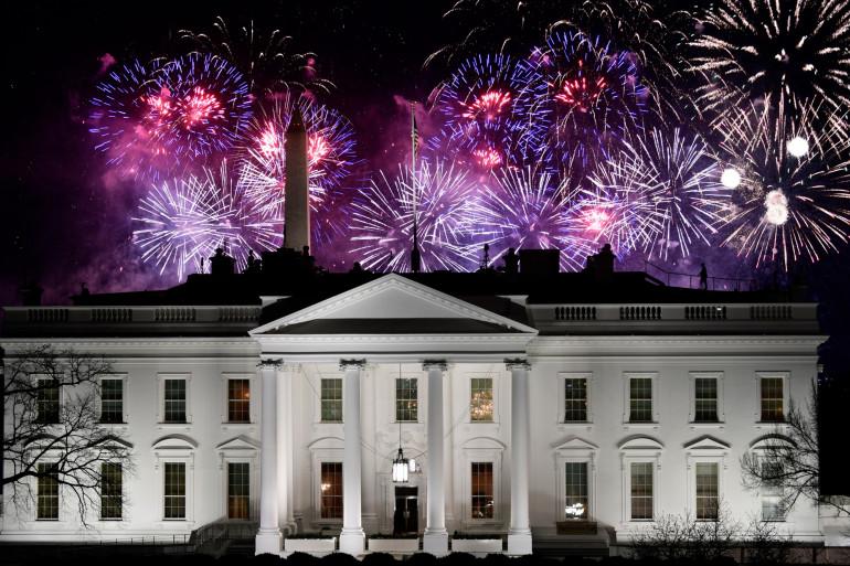 La Maison Blanche sous les feux d'artifices, le 20 janvier 2021