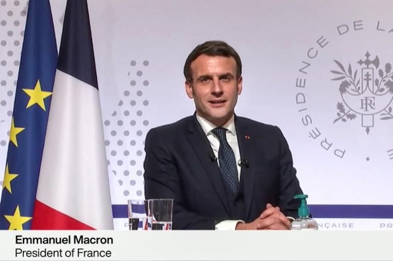 Emmanuel Macron s'exprime le 26 janvier 2021 lors de la conférence virtuelle du Forum économique mondial, qui se tient traditionnellement à Davos, en Suisse.