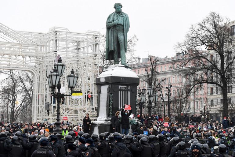 Une manifestation en Russie pour soutenir l'opposant Alexeï Navalny.
