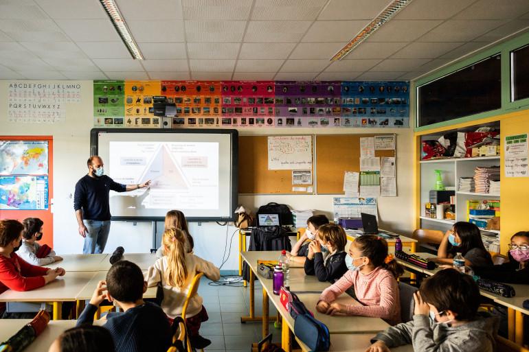 Une salle de classe à Perpignan durant la pandémie de Covid-19.