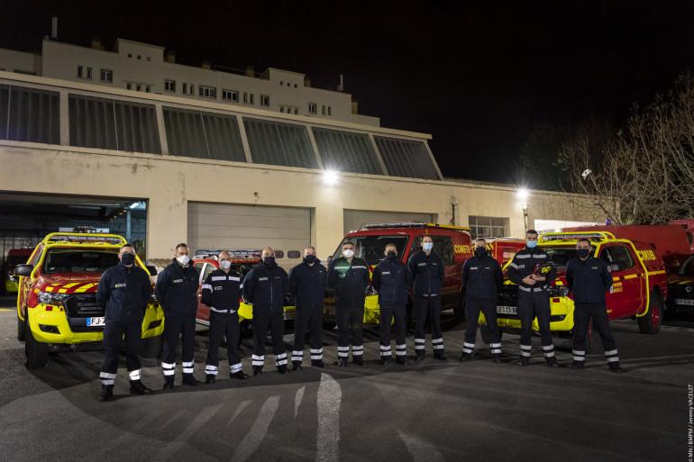 Onze marins pompiers partent en Moselle.