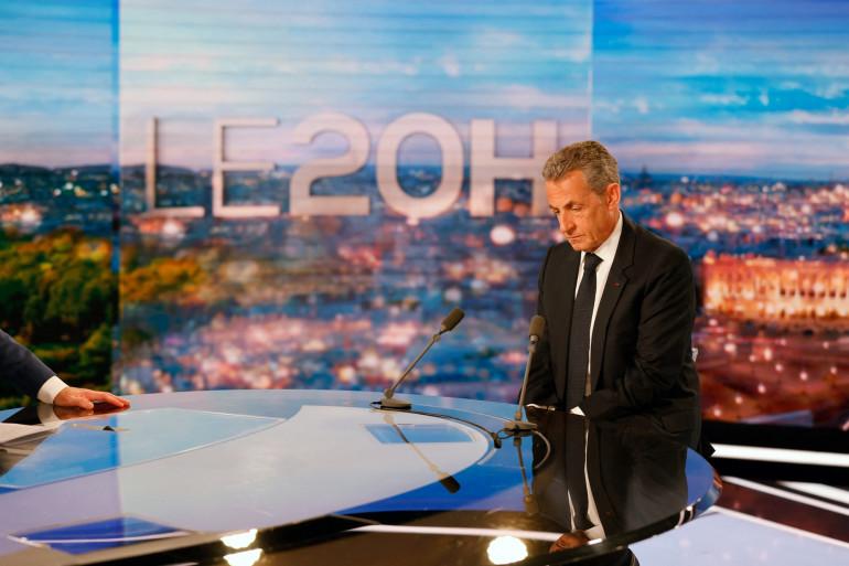 L'ancien président français Nicolas Sarkozy était l'invité de Gilles Bouleau lors du 20H sur TF1 le 3 mars 2021.