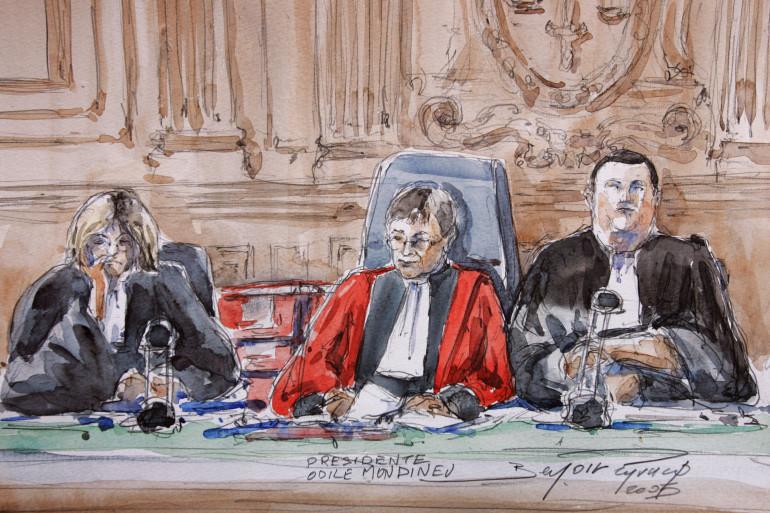 Un croquis représente la présidente de la Cour d'appel de Paris lors du procès en appel d'Outreau.