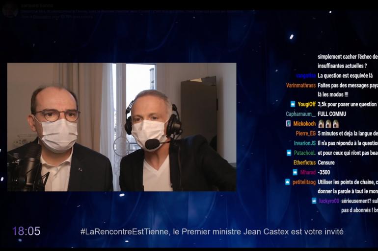 Jean Castex et Samuel Étienne sur Twitch, le 14 mars 2021