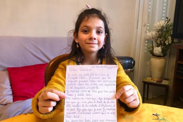 Chloé, 10 ans, qui a écrit au Président Macron pour pouvoir revoir sa mamie qui réside dans un Ehpad.