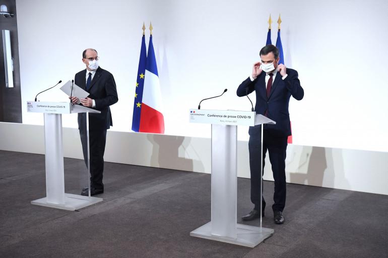 Jean Castex et Olivier Véran lors de la conférence de presse du 4 mars (illustration)