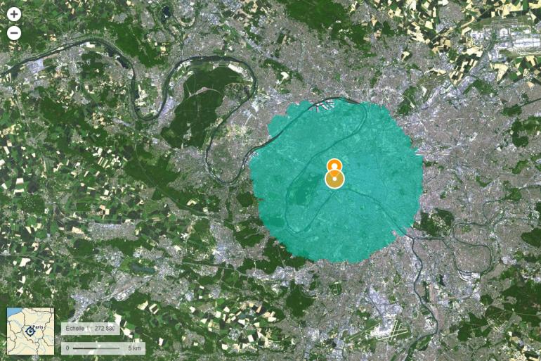 La zone de 10km autour de l'Arc de Triomphe à Paris (illustration)