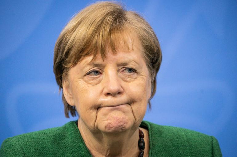 Angela Merkel lors d'une conférence de presse le 23 mars 2021.