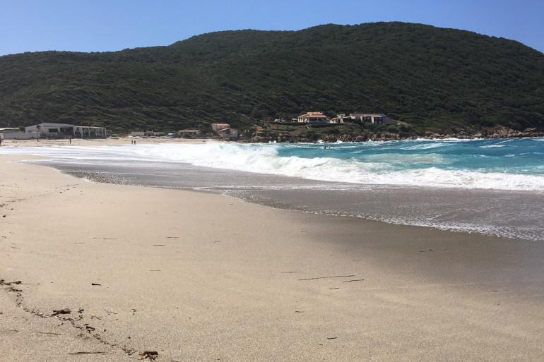 Des vagues atteignant une plage (illustration)