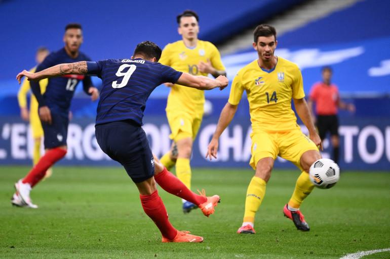 Olivier Giroud avec les Bleus face à l'Ukraine au Stade de France le 7 octobre 2020
