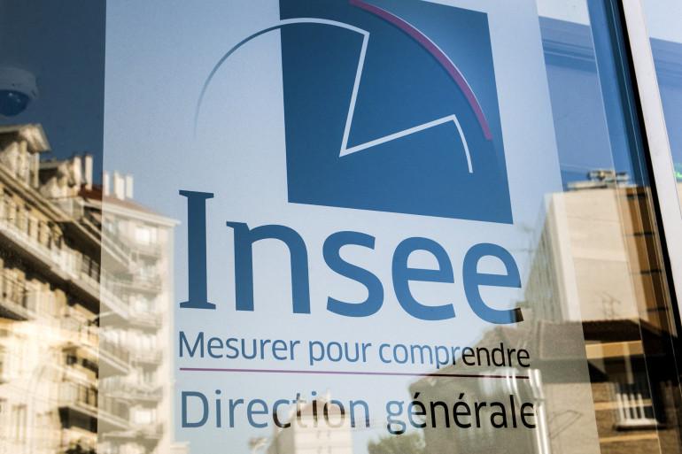 Une photo prise le 14 juin 2019 à Monrouge, près de Paris, montre le logo de l'agence de statistiques Français Insee (Institut national de la statistique et des études économiques). (Illustration)