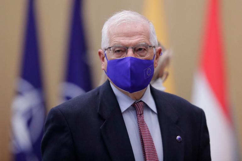 Le Haut représentant de l'UE pour les affaires étrangères, Josep Borrell, lors de la deuxième journée d'une réunion des ministres des affaires étrangères de l'OTAN à Bruxelles, le 24 mars 2021.