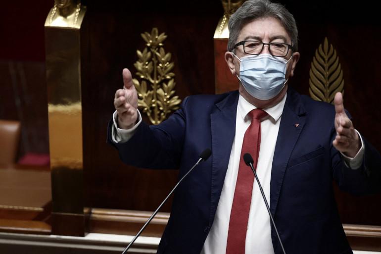 Jean-Luc Mélenchon le 1 avril 2021 à l'Assemblée nationale.