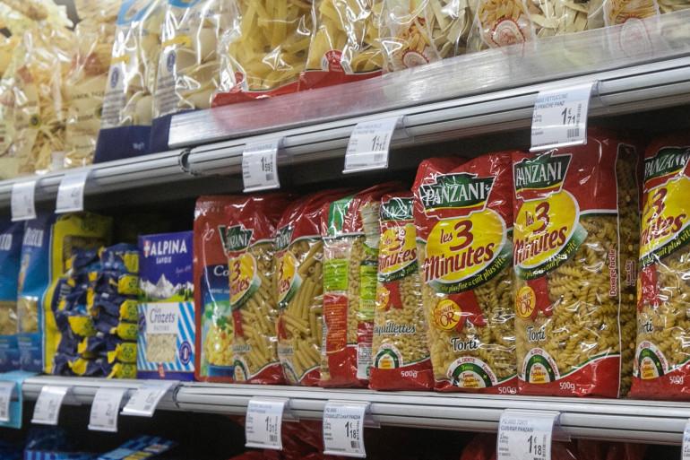 Un rayon de pâtes en supermarché, le 14 octobre 2020 à Clairac (Lot-et-Garonne).