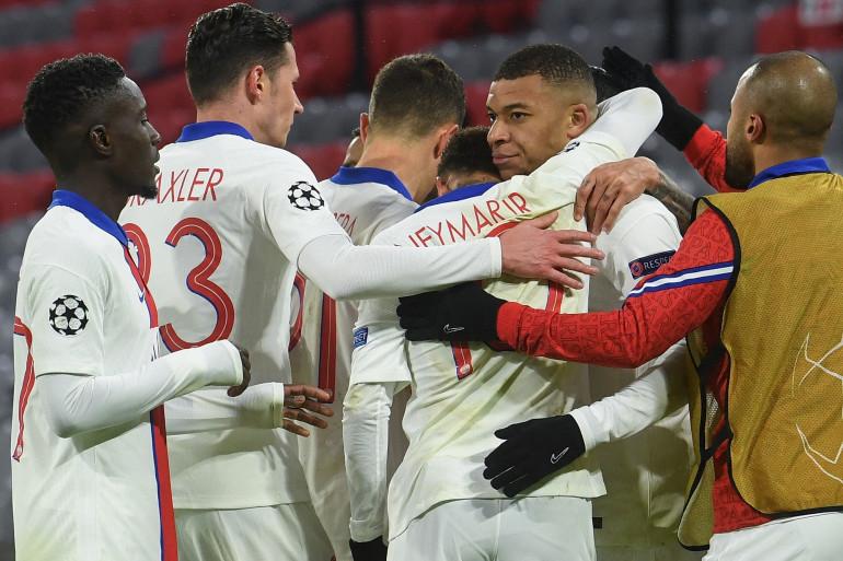 Les Parisiens célèbrent l'ouverture du score le 7 avril 2021 à Munich