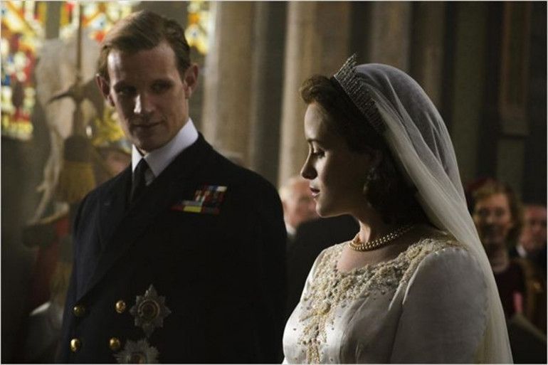 """Le mariage de la reine Elizabeth II et du prince Philip dans la série """"The Crown""""."""