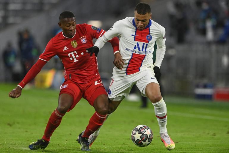 Kylian Mbappé au duel avec David Alaba le 7 avril 2021 à Munich