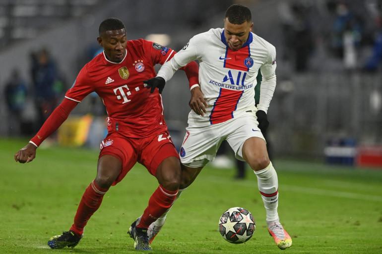 David Alaba et Kylian Mbappé lors du quart de finale aller à Munich le 7 avril 2021.