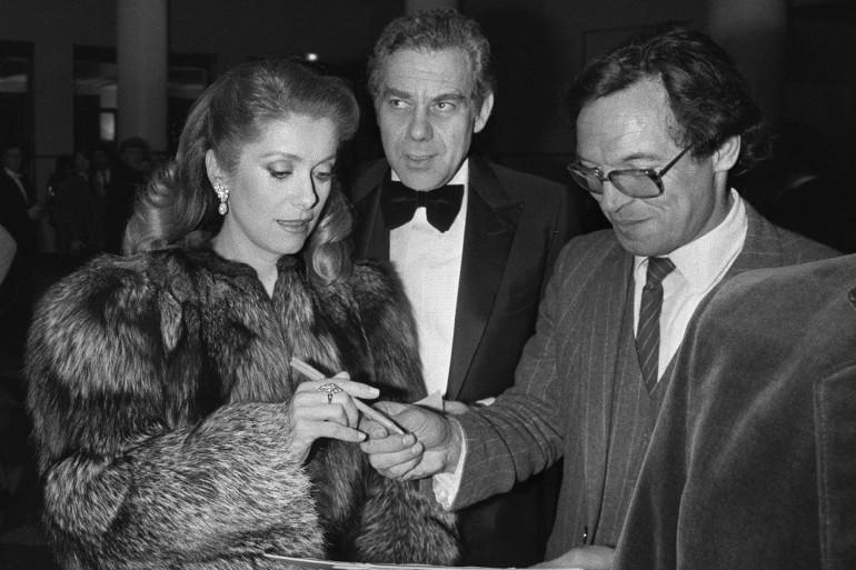 Catherine Deneuve aux côtés de Gérard Lebovici, le 27 février 1982 à Paris.