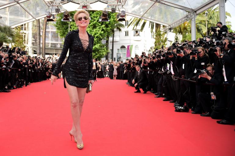 Sharon Stone sur le tapis rouge de Cannes le 22 mai 2014