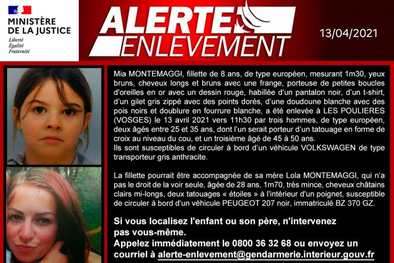Alerte enlèvement déclenchée pour Mia, 8 ans.