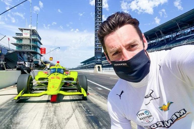 Simon Pagenaud sur le circuit d'Indianapolis en avril 2021
