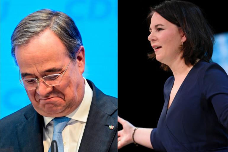 À gauche, Armin Laschet, candidat du CDU/CSU ; à droite, Annalena Baerbock candidate des Verts