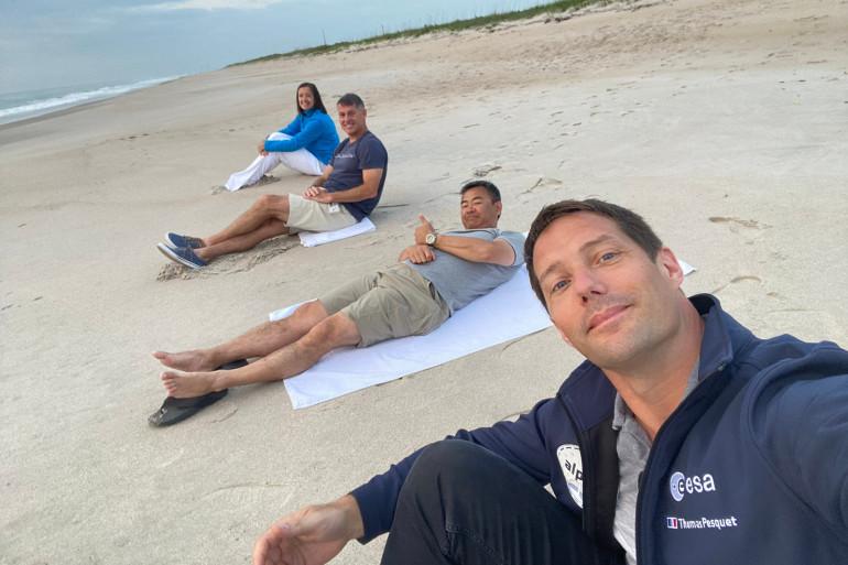 Thomas Pesquet et l'équipage du Crew Dragon quelques heures avant le décollage