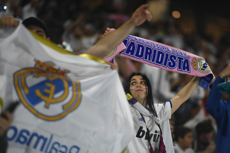 Une supportrice du Real à Madrid le 26 mai 2018