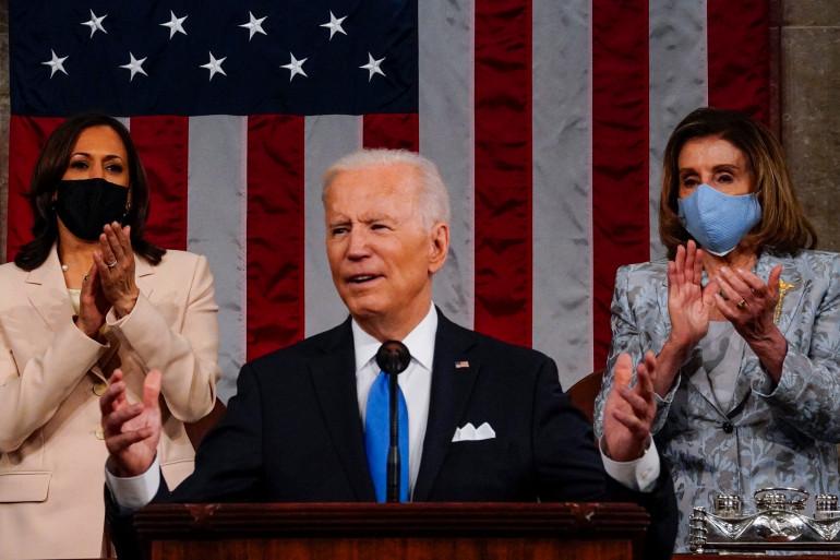 Joe Biden lors du premier discours devant le Congrès le 28 avril 2021