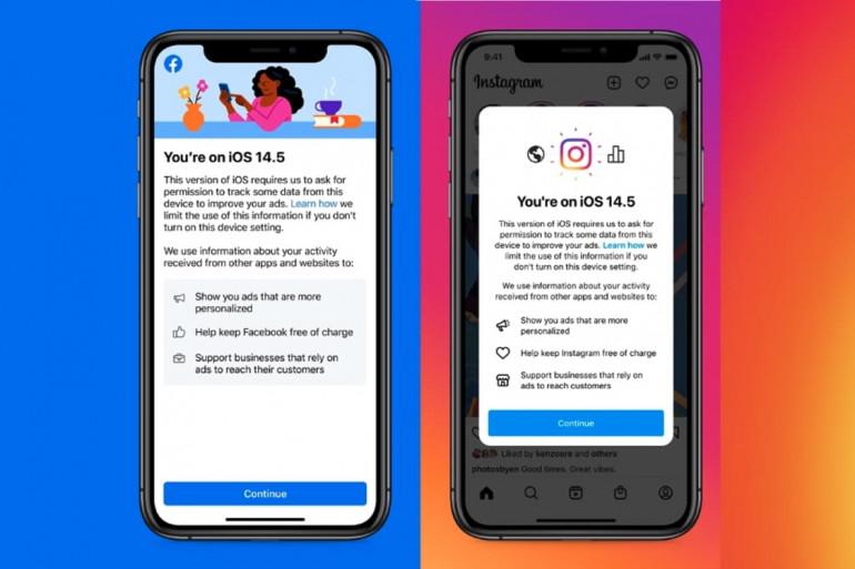 La notification reçue par certains utilisateurs d'Instagram sous iOS 14.5
