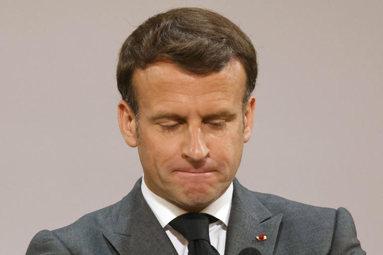 Emmanuel Macron durant la cérémonie du 1er mai 2021