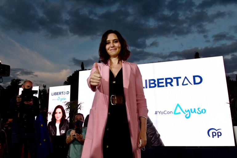La présidente de la région de Madrid, la conservatrice Isabel Díaz Ayuso, le 2 mai 2021