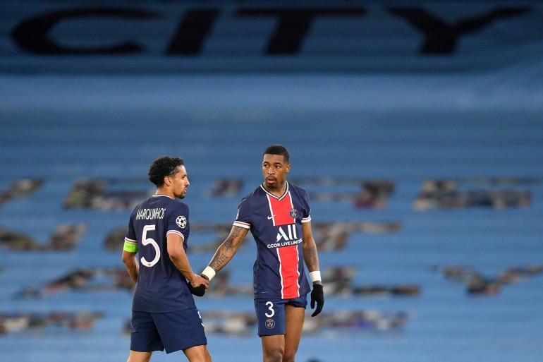 Marquinhos et Presnel Kimpembe à Manchester City le 4 mai 2021