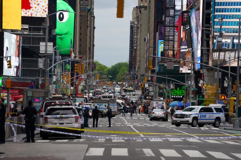 Times Square à New York le 8 mai 2021, après qu'une fusillade ait éclaté.