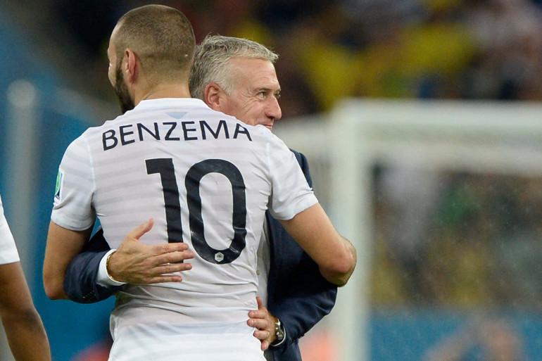 Didier Deschamps et Karim Benzema le 25 juin 2014 à Rio de Janeiro