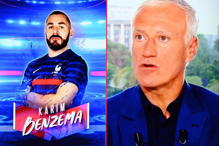 Didier Deschamps et le portrait de Karim Benzema qui s'affiche à l'écran le 18 mai 2021