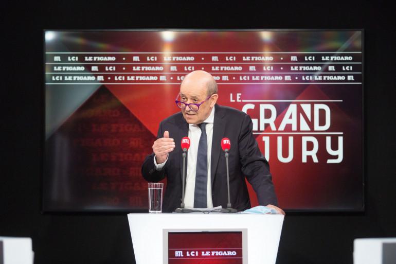 Jean-Yves Le Drian le 23 mai 2021 dans les studios de RTL