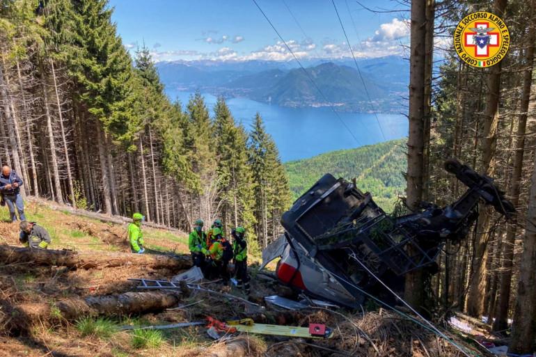 Le téléphérique qui a chuté à Stresa en Italie dimanche 23 mai