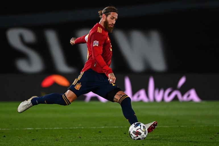 Sergio Ramos avec l'Espagne à Valdebebas le 10 octobre 2020