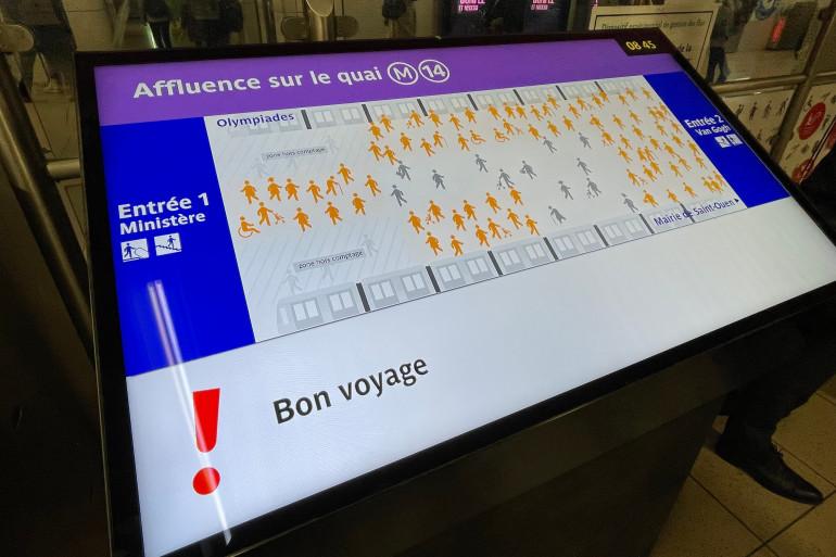 Dans la station Gare de Lyon, un écran informera quasi en temps réel les voyageurs de la densité de personnes sur le quai.