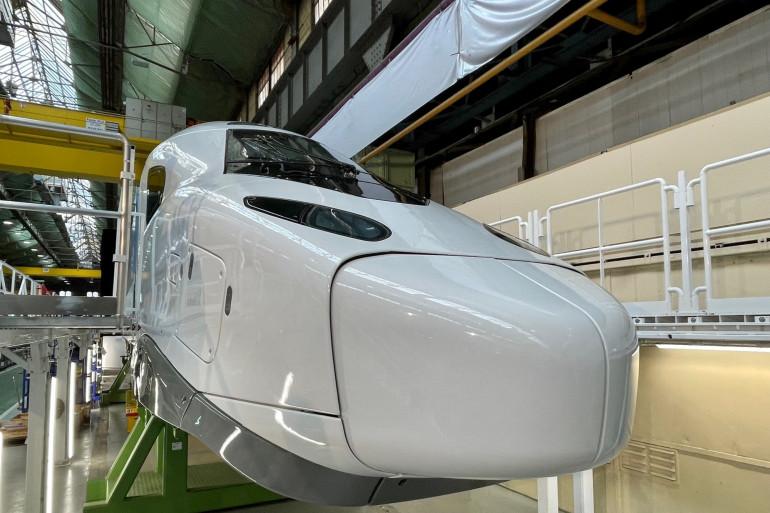 L'avant du TGV M, dévoilé à l'usine Alstom de Belfort le 26 mai 2021.